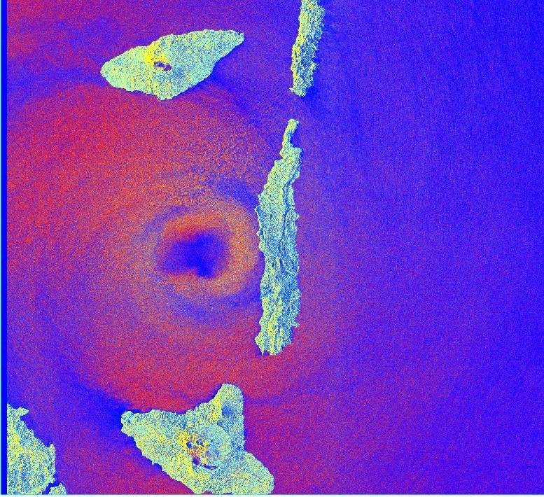 The eye of the storm: radar imagery from the Sentinel-1 satellite captures the moment when Tropical Cyclone Harold arrived at Pentecost Island, Vanuatu, on April 6th 2020