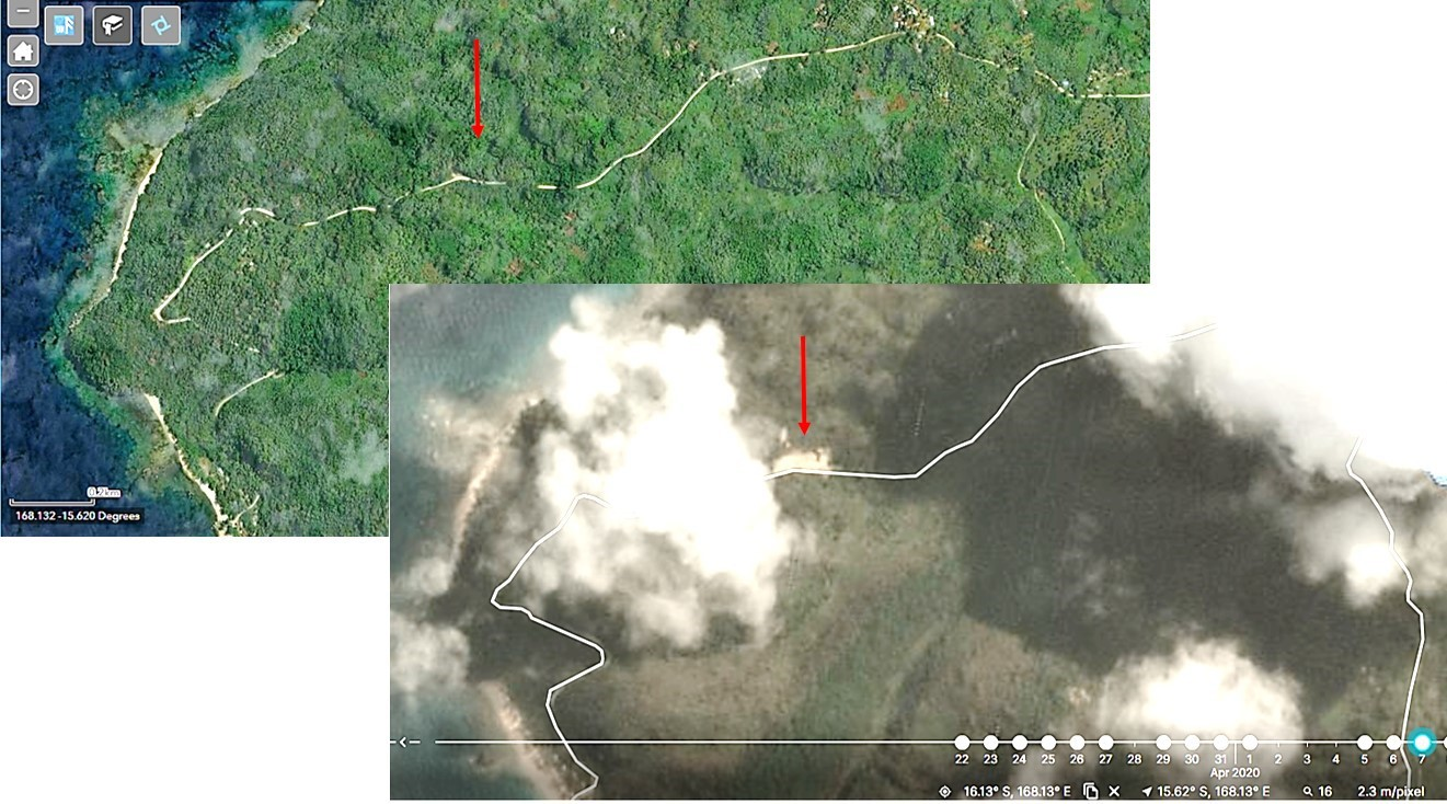 Figure 5. PlanetScope imagery of Pentecost Island, before and after Cyclone Harold, with the red arrow indicating a major road closed by a landslide (data source: Planet Inc.; processed by Dr Richard Teeuw of UoP)