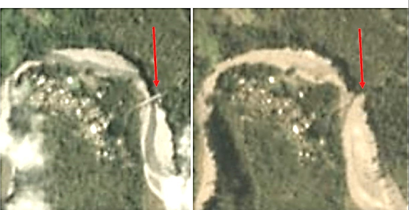 Figure 6. PlanetScope imagery of Espiritu Santos Island, before and after Cyclone Harold, with the red arrow indicating a major road bridge destroyed by flooding and debris flows (data source: Planet Inc.; processed by Dr Nasos Argyriou of UoP)